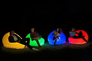 Air Candy Illuminated LED Inflatable Chair, Indoors-Outdoors Waterproof, 120 Color Changing Options w/Remote, Accent Conte...