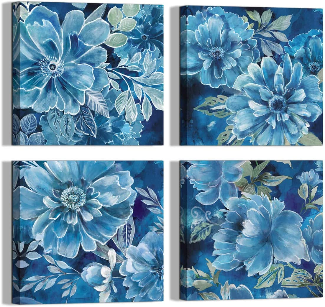 Canvas Ranking TOP17 Wall art Navy Blue Flower wholesale Style Pastoral deco Mural Print