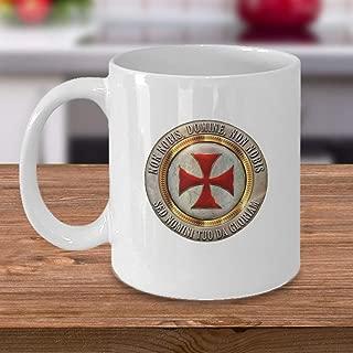 Knights Templar cross coffee mug - Non nobis domine sed nomini tuo da gloriam motto - masonic symbol gifts