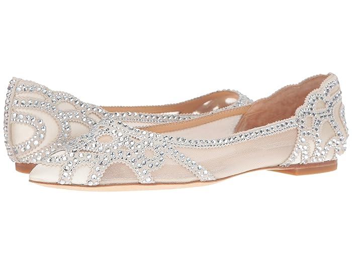 Badgley Mischka  Gigi (Ivory Satin/Suede/Mesh) Womens Flat Shoes