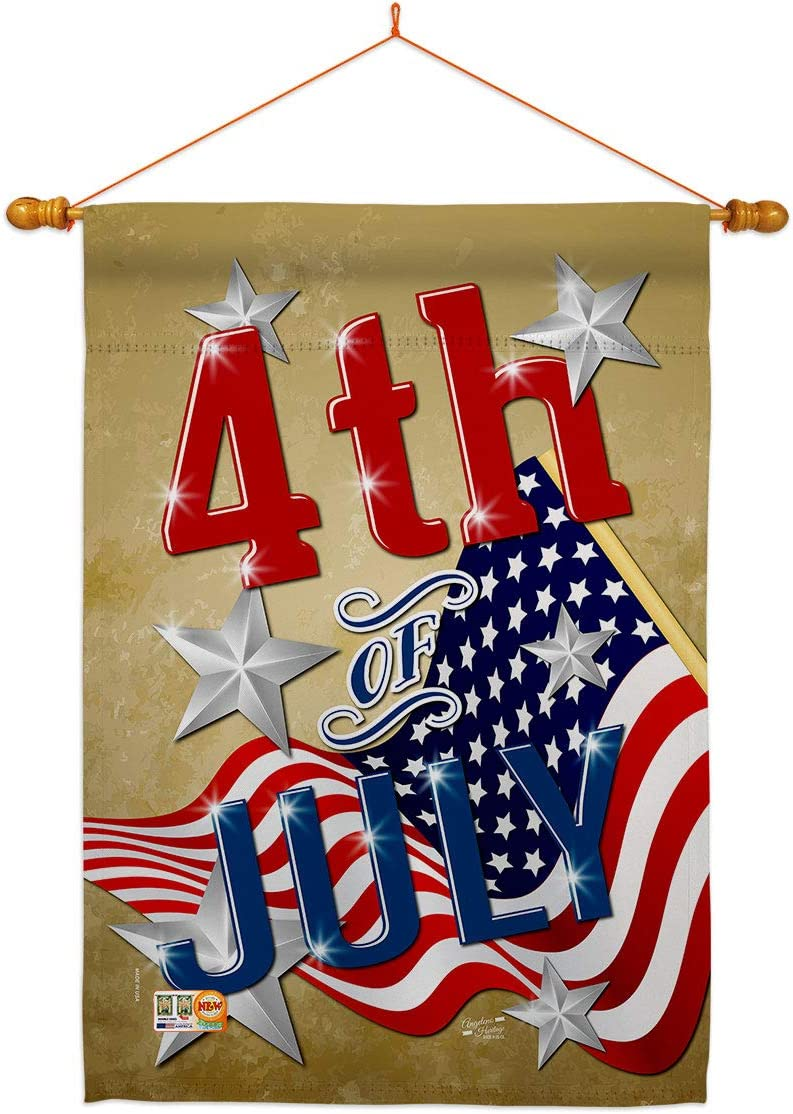 Angeleno Heritage Fourth of July 4th Patrio Set House Flag ☆最安値に挑戦 大決算セール Dowel
