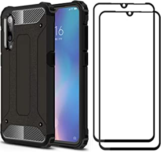 FANFO Case + 2 Pack Screen Protector Compatible with Xiaomi MI 9, Detachable 2 in 1 Hybrid Armor Shockproof Tough Rugged D...
