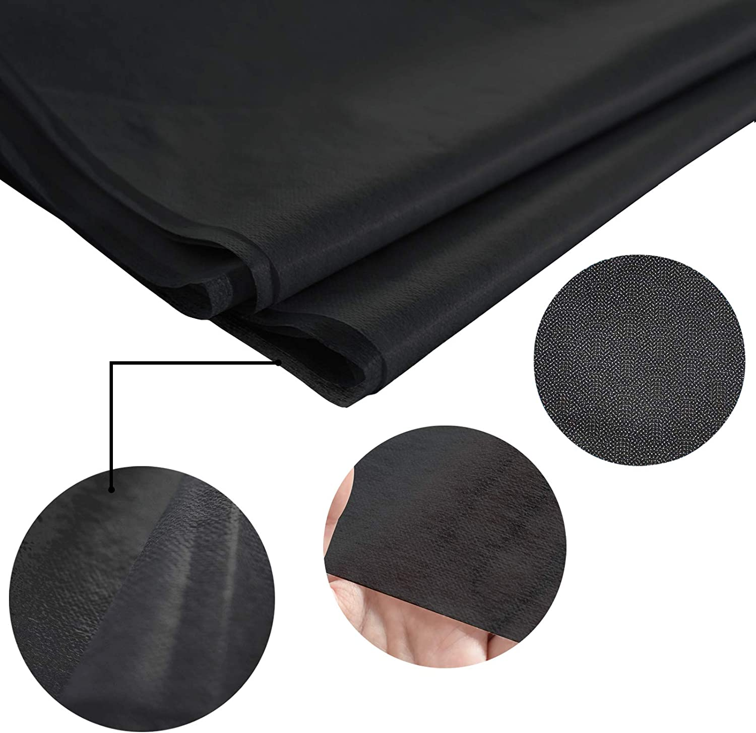 HomKit Non-Woven Lightweight Fusible Interfacing Polyester Interfacing for Sew-in and Interlining Heat Press Transfer Black 1 x 3 Yards Ironing and Arts Crafts