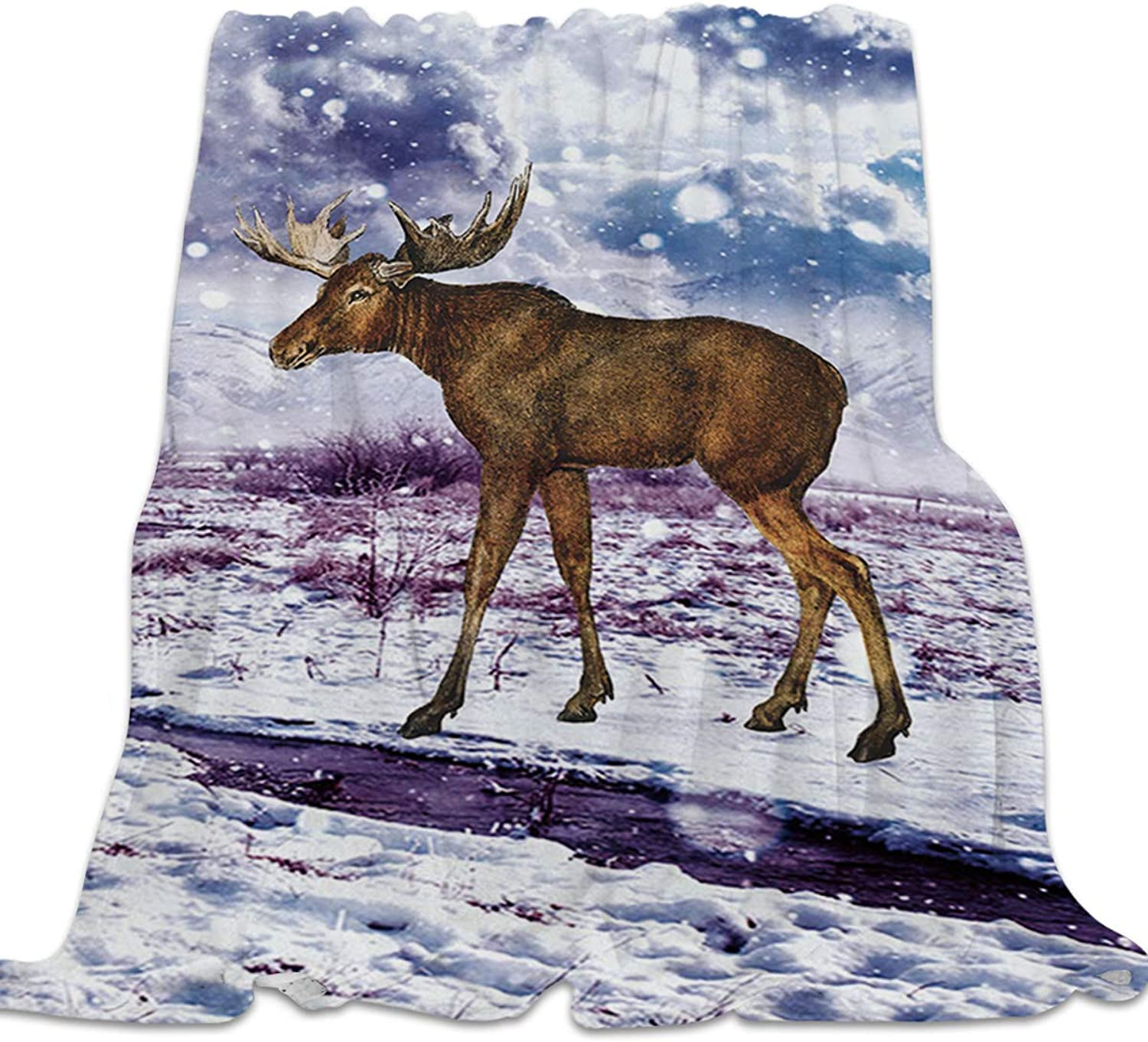 YEHO Art Gallery Flannel Fleece Bed Blanket Super Soft Cozy ThrowBlankets for Kids Girls Boys,Lightweight Blankets for Bed Sofa Couch Chair Day Nap,Hand Painting Elk Deer in The Snow,49x59inch