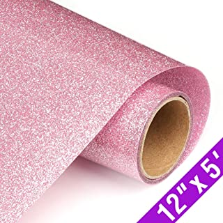 Glitter Heat Transfer Vinyl HTV Rolls 12inx5ft, Iron on HTV Vinyl Compatible with Silhouette Cameo & Cricut by TransWonder(Pink)
