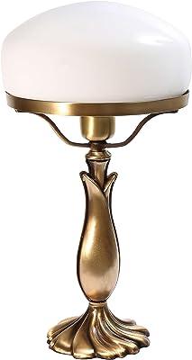 Lampe de table exclusive en forme de champignon avec pied en laiton bronze et verre blanc E27 jusqu'à 60 W Lampe de table style banquier, lampe champignon, lampe de chevet