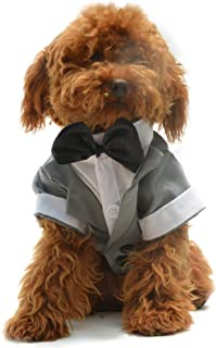 Lovelonglong Pet Costume Dog Suit Formal Tuxedo with Black Bow Tie for Small Size Dogs Miniature Schnauzer Clothing Gray L