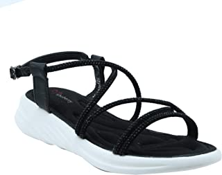 Shuberry SB-19077 Latest Footwear Collection, Comfortable & Fashionable Faux Leather Black Colour Sandal for Women & Girls