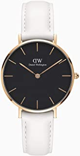 Daniel Wellington Women's Classic Petite Stainless Steel Japanese Quartz Watch with Leather Strap, White, 12 (Model: DW00500481)