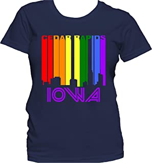 Retro 1970`s Style Cedar Rapids Iowa LGBTQ Gay Pride Rainbow Skyline Women`s T-Shirt