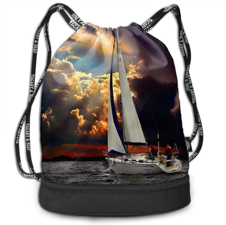 Gymsack Sailboat Stormy Print Drawstring Bags  Simple School String Bag