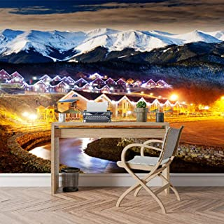 Papel pintado personalizado Snow Mountain Night City Paisaje Wallpaper 3D Mural Roll Paper Wallpaper 3D Living Room Art 1㎡ Personalizable Huzi