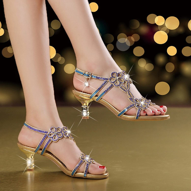 CXY Sommer-High Heels Frauen 'Rhinestone Sandalen Frauen' S Leder Leder Leder Fischkopf Mode Sandalen,Blau,35 B07FBZ6CX3  Zu einem erschwinglichen Preis a5a2f9