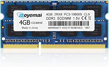 ROYEMAI 4GB PC3-10600 RAM, DDR3 1333MHz Sodimm PC3 10600S 2Rx8 204-pin 1.5V CL9 DDR3 Sdram Non ECC Unbuffered Notebook RAM Memory Upgrade for Laptop Computer
