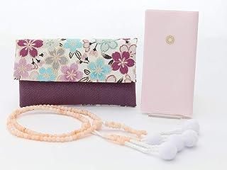 創価学会 勤行 3点セット 女性用 (公式)経本小 数珠 ピンク 京都製 念珠入れ 紫地