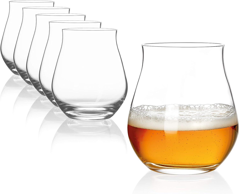 SAHM Vasos Cristal de 140ml   Copas de Cerveza   6 Unidades   Vaso Cerveza apto para lavavajillas   Ideal para Degustación Cervezas   Copa Cerveza