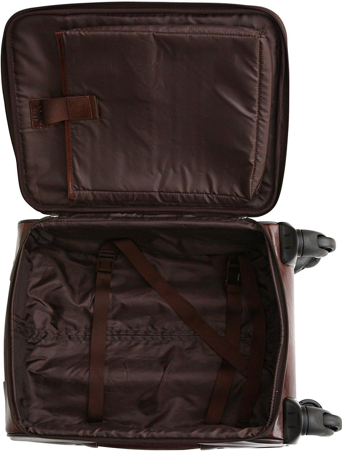 Bagage /à 4 roulettes taille cabine poche pour ordinateur portable 14 S Babila cuir Cognac