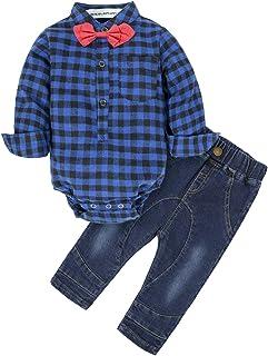 BIG ELEPHANT Baby Boys' 2 Piece Shirt Pants Clothing Set with Bowtie