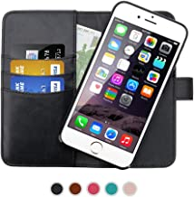 SHANSHUI Wallet Case Compatible with iPhone 6/6s, iPhone 7 and iPhone 8, Premium PU Leather RFID Blocking Magnetic Detachable Folio Flip Cover Card Slot Cash Pocket -Black 4.7''