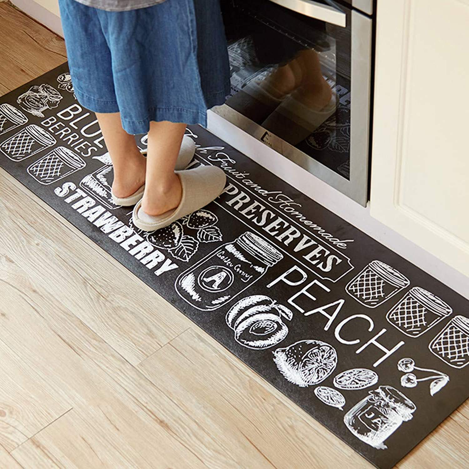 Abreeze 2Pcs Non-Skid Slip Rubber Back Kitchen Rug Sets Waterproof and Oil Proof Carpet Doormat, Canned Goods(17.7 x31.5 +17.7 x47.2 )
