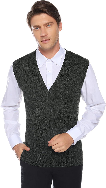 Men's v Neck Sweater Vest Classic Basic Rhombus Sleeveless Pullover Knit (Dark Grey, Medium)