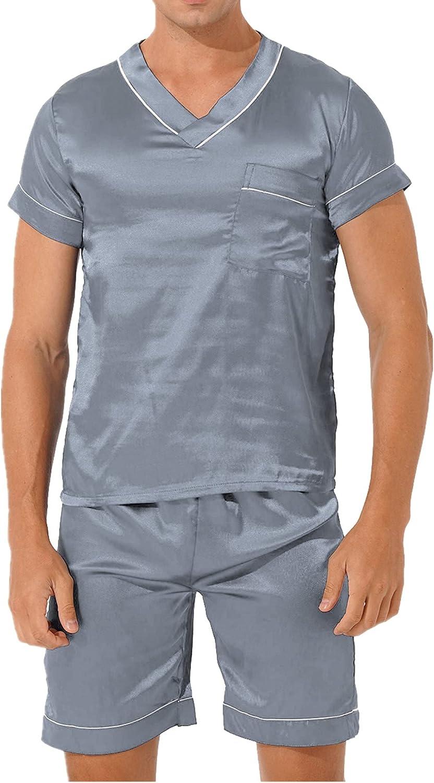 vastwit Mens Satin Pajama Set Short Sleeve Shirts and Shorts Pj Lounge Sets Soft Sleepwear