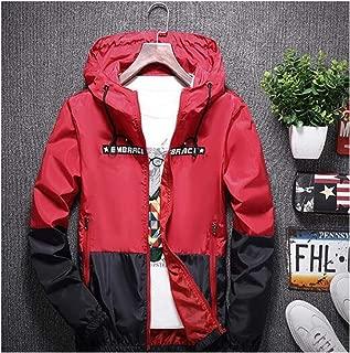 New Spring Autumn Bomber Hooded Jacket Patchwork Windbreaker Jacket Male Outwear Zipper Red M
