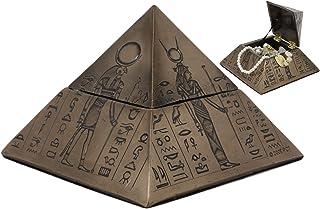 Ebros 古代エジプトの神 イシス セクメト ホルス アヌビス ピラミッド ヒエログリフ付き ジュエリーボックス置物 幅6インチ 装飾小物入れ 卓上テーブル装飾 エジプトのモニュメントの神像