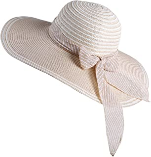 WITHMOONS Womens Sun Hat Wide Brim Floppy Beach Cap Packable Ribbon Hat QZ90050
