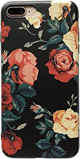 YeLoveHaw iPhone 7 Plus / iPhone 8 Plus Cute Case for Girls, Flexible Soft Slim Fit Full Protective Shell Phone Case with Rose Floral Pattern for Apple iPhone 7 Plus / 8 Plus 5.5 Inch (Rose)