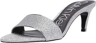 silver glitter mules