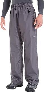 Clothin Men's Waterproof Elastic-Waist Drawstring Rain Pants with Front Zipper Pockets Basic Insulated Workout