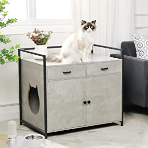 MSmask Extra Large Cat Litter Box Enclosure Cabinet, Cat Washroom with Drawer Litter Box Furniture Hidden Cat House, Pet Nightstand Storage Bench with Doors