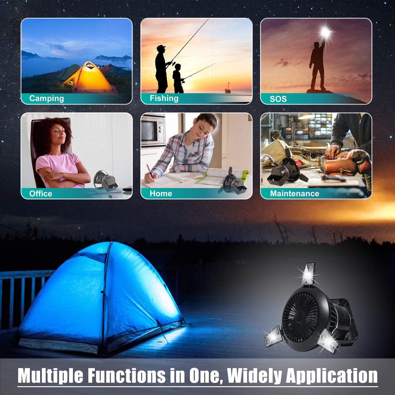Portable Tent Fan with Hanging Hook Tent 4000mAh, 40 Hours Max Working Time BUSYPIGGY Solar Camping Fan with LED Lantern Car Emergency Outages Office Rechargeable USB Desk Fan for Home