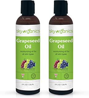 Grapeseed Oil by Sky Organics (8oz x 2 Pack) 100% Pure, Natural & Cold-Pressed Grapeseed Oil - Ideal for Massage, Cooking ...