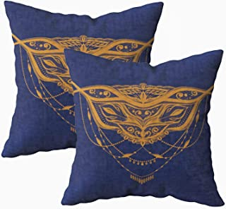EMMTEEY 18x18 Pillow Covers, Pack 2 Pillow Covers Home Throw Pillow Covers for Sofa Abstract Lace Pattern Henna Design Sketch Tattoo Art Necklace Prom Square Double Sided Printing