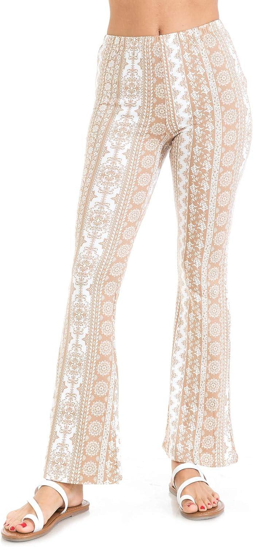 Trendy Street Elastic Waist Printed Comfy Palazzo Wide Leg Flare Pants