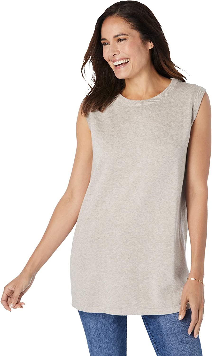 Woman Within Women's Plus Size Perfect Cotton Sleeveless Crewneck Pullover - 30/32, Heather Sand Beige