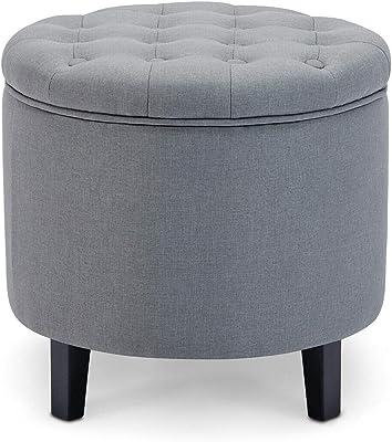 Prime Amazon Com Homepop Velvet Button Tufted Round Storage Theyellowbook Wood Chair Design Ideas Theyellowbookinfo