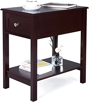 narrow side tables for living room 10 inch songmics narrow side table end night stand bedside with sliding drawer storage for kids amazoncom simpli home acadian solid wood