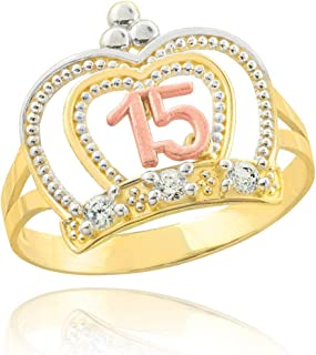 10k Tri-Tone Gold Sweet 15 Anos Band Imperial Queen Quinceanera Crown Ring