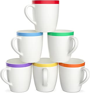 Vremi VRM020043N Hot Tea Cocoa Mug Set with Cool Decorative Red Orange Yellow Green Blue Purple Color Trim - Microwave and Dishwasher Safe, 12 Ounce Coffee Set of 6, White Ceramic Porcelain