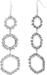 Steve Madden Women's Rhinestone Triple Hexagon Design Dangle Silver-Tone Earring