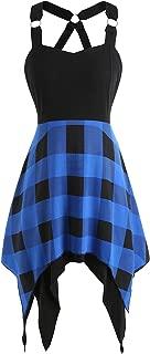 Rosegal Women's Summer Sweetheart Neck Sleeveless Plaid Asymmetrical Dress