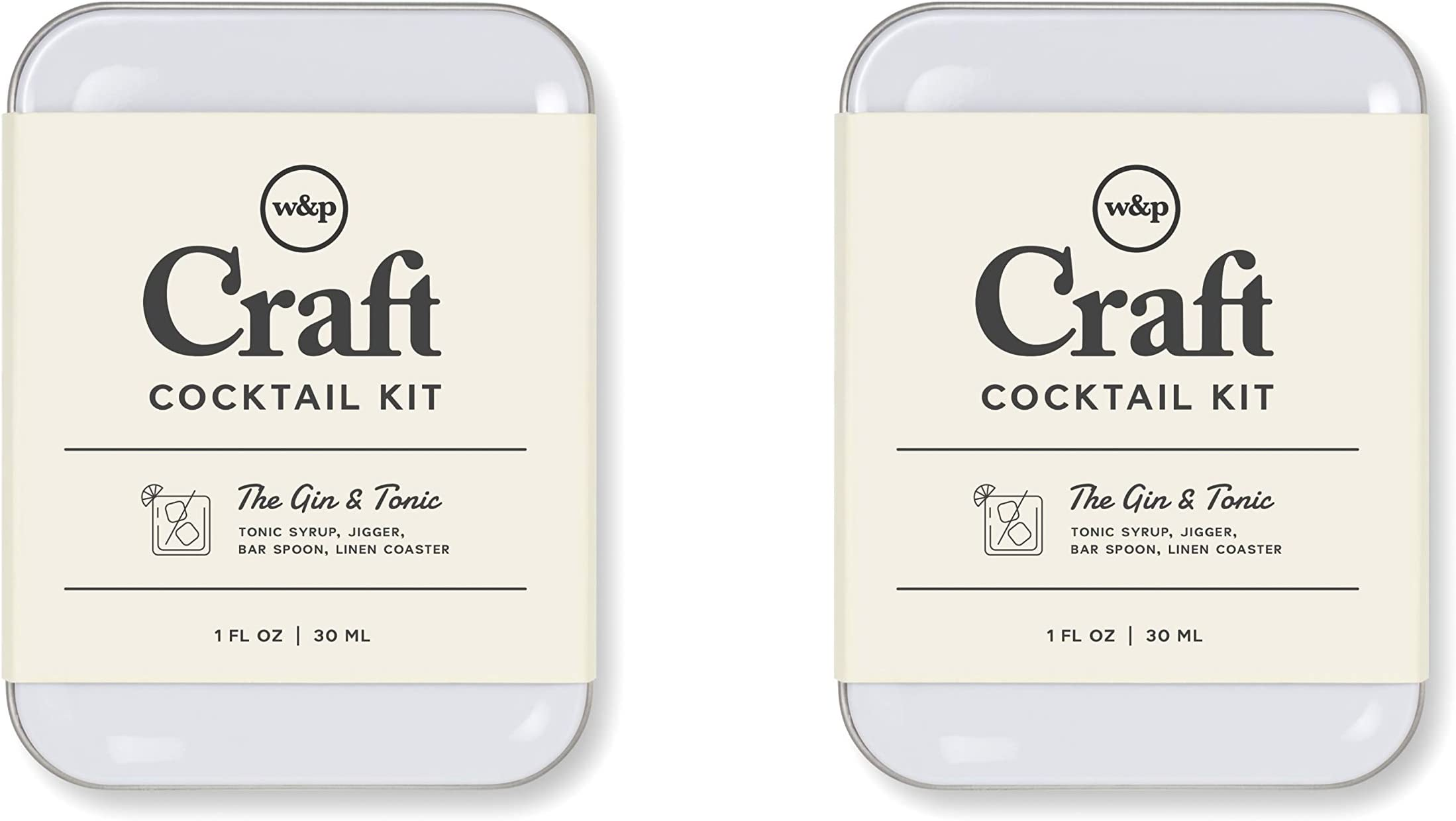 W&P Craft Cocktail Kit, Gin and Tonic, Portable Kit for Drinks on the Go, Carry On Cocktail Kit, Pack of 2