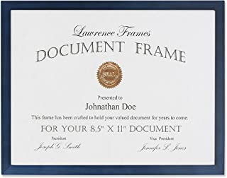 Lawrence Frames Blue Wood Certificate Picture Frame, Gallery Collection, 8-1/2 by 11-Inch