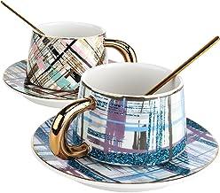 Andoer Conjunto de xícaras de café e pires xícaras de chá de cerâmica Embalagem de presente casal xícaras de colher de aço...