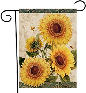 Artofy Sunflowers Home Decorative Garden Flag, Welcome Fall Outdoor Small Flag Flower Bees, Summer Autumn Vintage House Ya...
