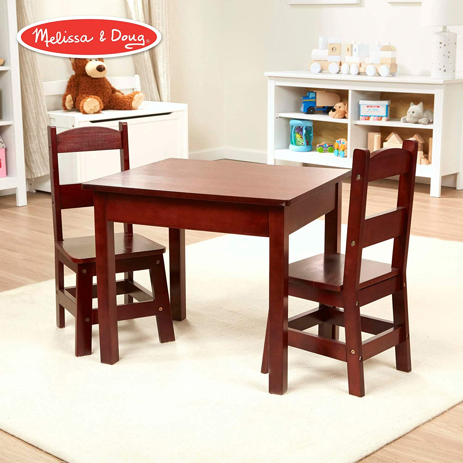 Melissa & Doug Wooden Table and Chairs Set - Espresso