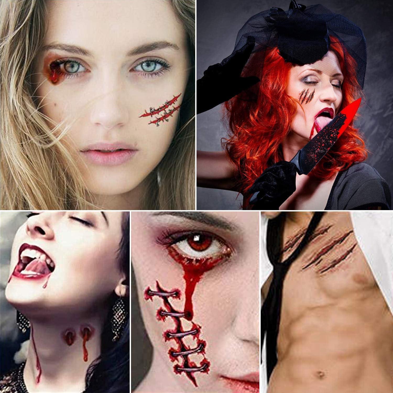 JEEZAO 30Pcs Halloween Tatouage de Cicatrice,Horreur Realiste Imperm/éable /à leau Temporaire Tattoo Type 1